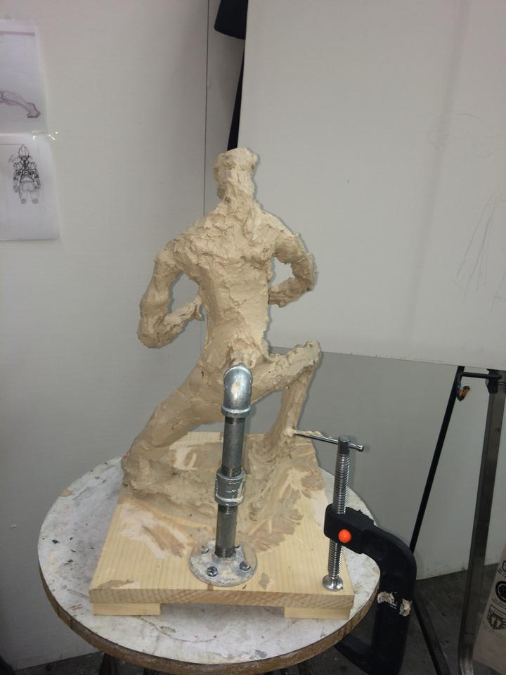 Sketching a spelunker using clay - Blocking up mass step.