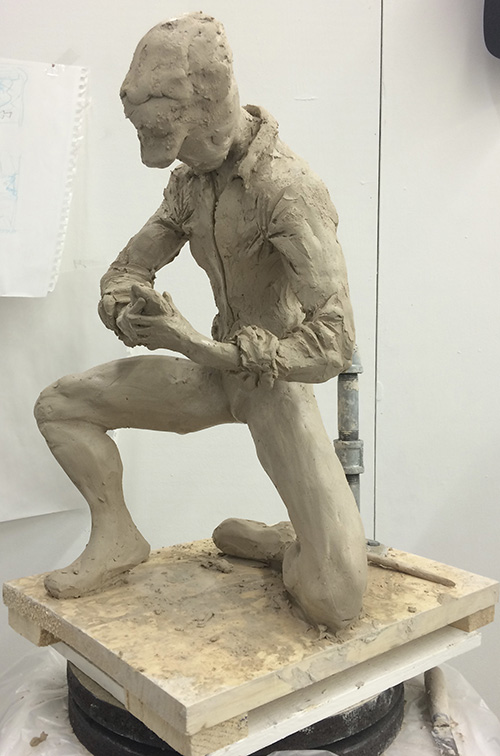 Sketching a spelunker using clay - Blocking Characteristics of Clothing step.
