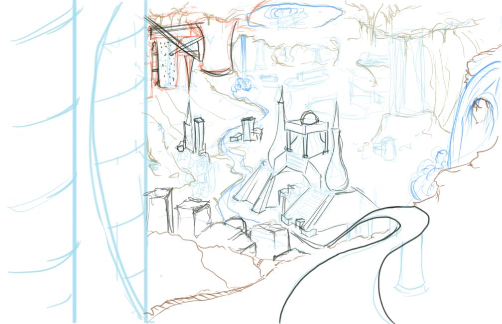Sketch of underground city.