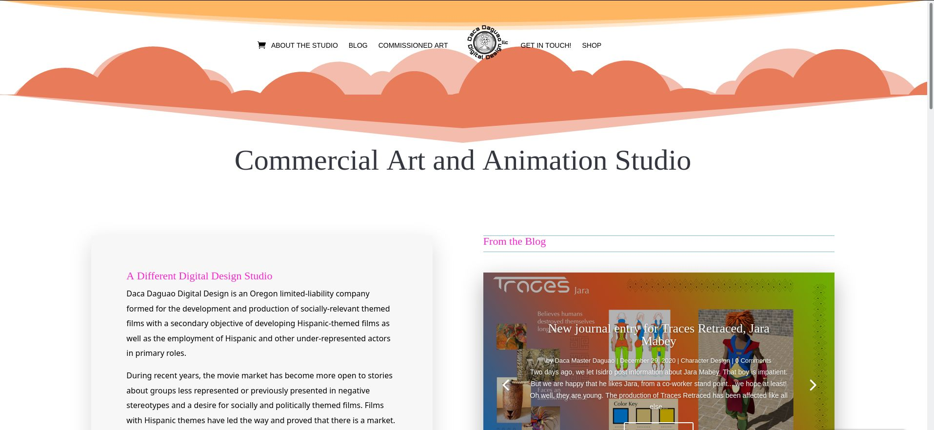Screenshot of animation studio Daca Dagao Digital Design, LLC website